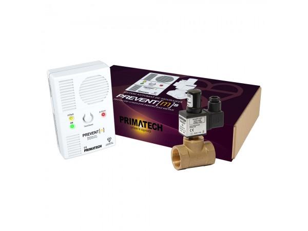 Detector de gaz metan Prevent M cu electrovalva de alama 3/4, echipament complet